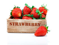 Strawberries Berry In The Wooden Box Royalty Free Stock Photo
