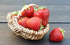 Strawberries. Big strawberries in a small basket Stock Image