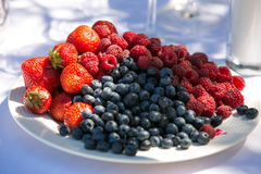Strawberries, bilberries, red currants. On a table are lying strawberries, bilberries, red currants, raspberries and blackberries Royalty Free Stock Photography