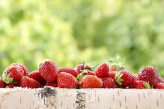 Strawberries in a birch basket. Blurred green background. Stock Photography