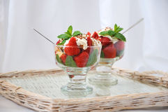 Strawberries with biscuit pieces Stock Images