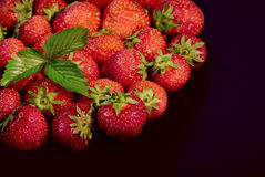 Strawberries on black Royalty Free Stock Photo