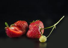 Strawberries on black background Stock Images