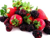 Strawberries & Blackberries Royalty Free Stock Photos