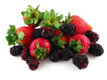 Strawberries & Blackberries Royalty Free Stock Photography