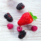 Strawberries blackberries raspberries Stock Image