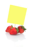 Strawberries with blank Note paper Stock Images