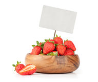Strawberries with blank price tag Stock Photo