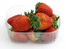Strawberries in a blister. Isolated on white background Royalty Free Stock Photography