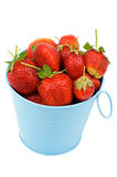 Strawberries in Blue Bucket Stock Photos