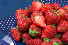 Strawberries in blue plate Royalty Free Stock Image