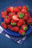 Strawberries in blue plate Stock Image