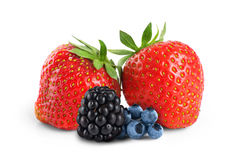Strawberries, blueberries and blackberries isolated on white bac Stock Images