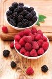 Strawberries, blueberries, blackberries and. Raspberries in bowls, top view, close-up Royalty Free Stock Image