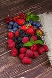 Strawberries, blueberries, blackberries, raspberries and currant Stock Photo
