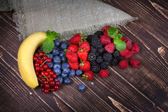 Strawberries, blueberries, blackberries, raspberries and currant Royalty Free Stock Image