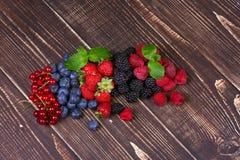 Strawberries, blueberries, blackberries, raspberries and currant Stock Images