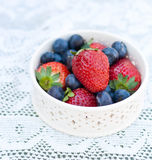 Strawberries and blueberries in a bowl Royalty Free Stock Photography
