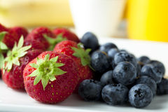 Strawberries and Blueberries for Breakfast Stock Image