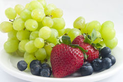 Strawberries and Blueberries and Grapes Royalty Free Stock Photography