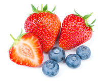 Strawberries and blueberries royalty free stock photography