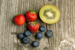 Strawberries, blueberries and kiwi Royalty Free Stock Images