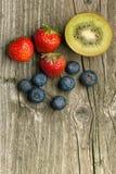 Strawberries, blueberries and kiwi Stock Photo
