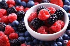 Strawberries, blueberries, raspberries and black berries. Fresh berries on white background Royalty Free Stock Images