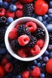 Strawberries, blueberries, raspberries and black berries. Fresh berries on white background Stock Photo