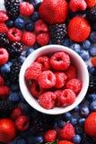 Strawberries, blueberries, raspberries and black berries. Fresh berries on white background Royalty Free Stock Photography