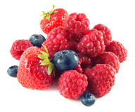Strawberries, blueberries, raspberries. Isolated. Royalty Free Stock Image
