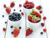 Strawberries, blueberries, raspberries Stock Photography