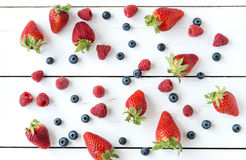 Strawberries, blueberries, raspberries, Royalty Free Stock Photos