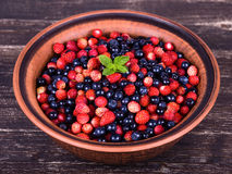 Strawberries and blueberries, wild berry Royalty Free Stock Photo