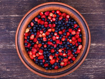 Strawberries and blueberries, wild berry Stock Photo