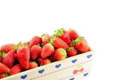 Strawberries Border isolate on white with work path Stock Image
