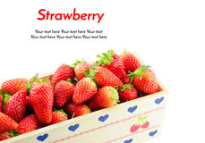 Strawberries Border isolate on white with work path Royalty Free Stock Images