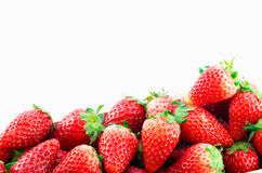 Strawberries Border isolate on white with work path Stock Photography