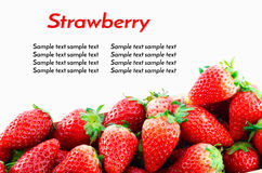 Strawberries Border isolate on white with work path Stock Images