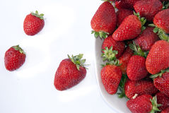 Strawberries bowl. On white background Royalty Free Stock Photo