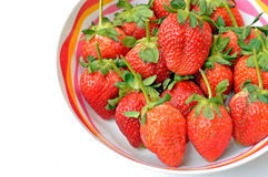 strawberries in bowl. Fresh strawberries in colorful bowl Stock Photo