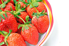 strawberries in bowl. Fresh strawberries in colorful bowl Royalty Free Stock Photo