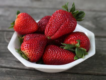 Strawberries in a Bowl- 3. Strawberries in a Bowl on a Picnic Table with copy Space Royalty Free Stock Photos