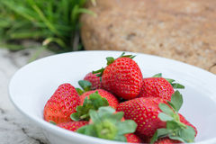 Strawberries in a bowl close up Stock Image