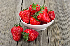 Strawberries in a Bowl close-up Stock Images