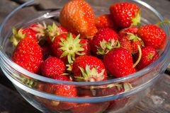 Strawberries. A bowl of freshly picked strawberries Royalty Free Stock Photos