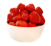 Strawberries in a bowl - isolated on white background Royalty Free Stock Images