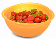 Strawberries in a bowl. Ripe strawberries in a bowl with a sieve, isolated on white background Royalty Free Stock Photography