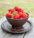 Strawberries on a bowl Royalty Free Stock Images
