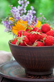 Strawberries on a bowl Stock Photography